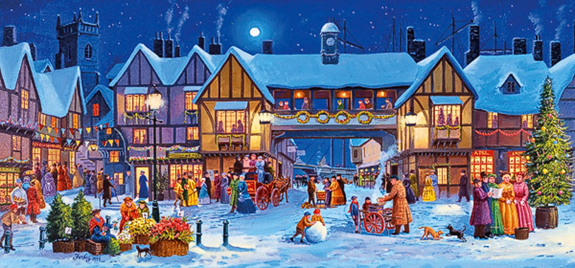 Christmas in The Square Gibsons Jigsaw Puzzle 636 Piece Panorama