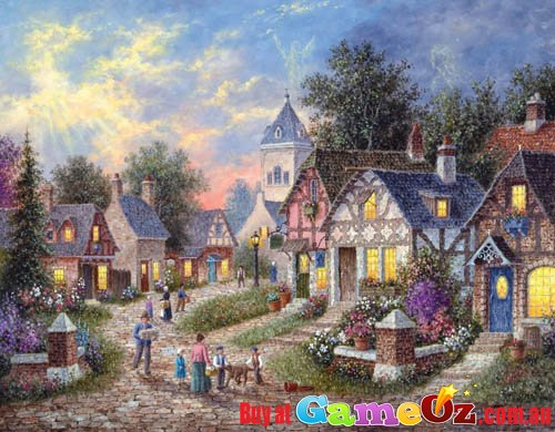 Twilight Village Sunsout Jigsaw Puzzle 1000pc By Dennis Lewan