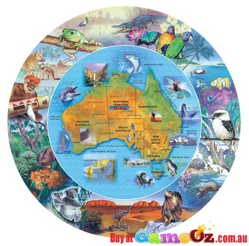 Map Of Australia Jigsaw Puzzle.Wild Australia From Desert To Sea Round Map Jigsaw Puzzle 100 Piece