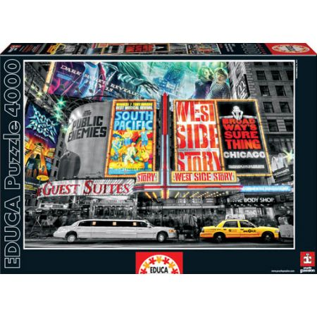 educa jigsaw puzzle 4000 piece theatre new york coloured black and white. Black Bedroom Furniture Sets. Home Design Ideas